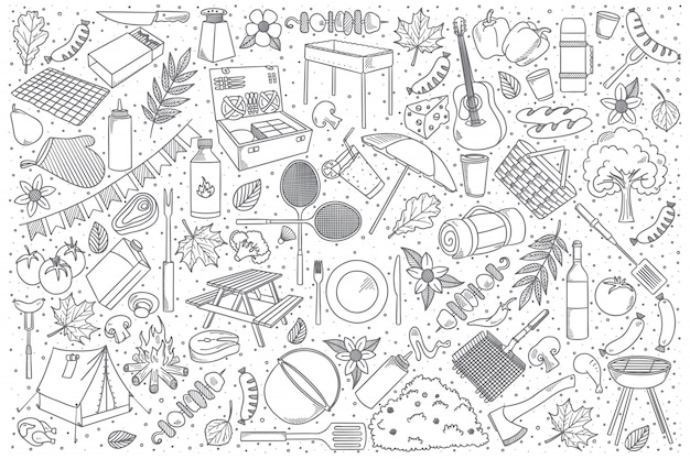Conjunto de doodle de piquenique Vetor Premium