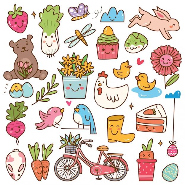 Conjunto de doodle de primavera kawaii temporada Vetor Premium