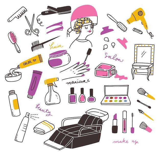 Conjunto de doodle de produtos de salão e beleza Vetor Premium