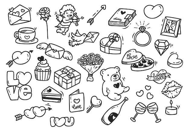 Conjunto de doodle de valentim isolado no fundo branco Vetor Premium