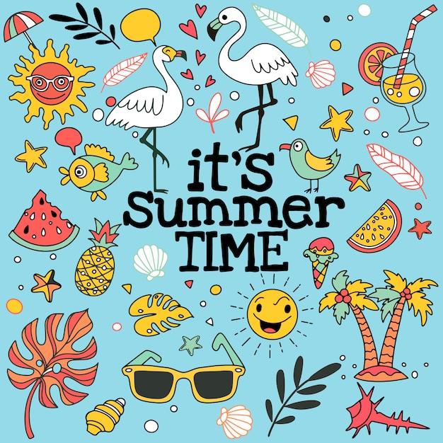 Conjunto de doodle de verão na Vetor Premium