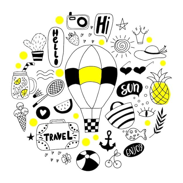 Conjunto de doodle de verão. Vetor Premium