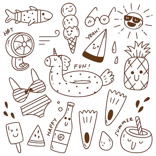 Conjunto de doodle de verão Vetor Premium