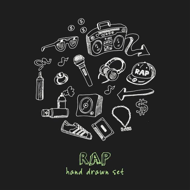 Conjunto de doodle desenhado à mão rap Vetor Premium