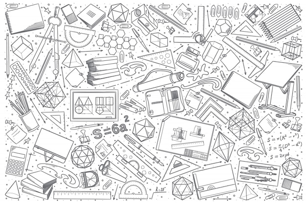 Conjunto de doodle desenho mão desenhada Vetor Premium