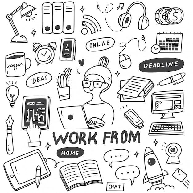 Conjunto de doodle do conceito de trabalho em casa Vetor Premium