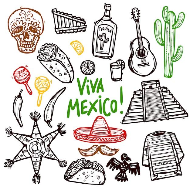 Conjunto de doodle do méxico Vetor grátis