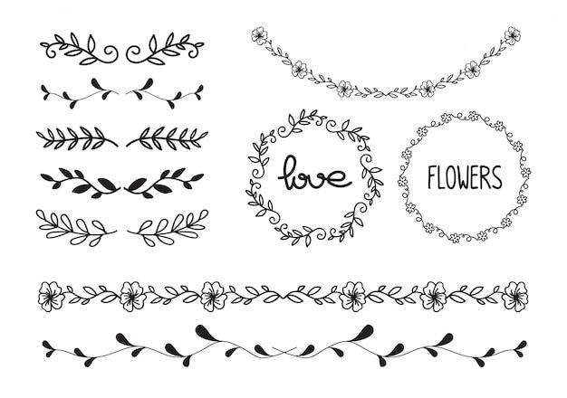 Conjunto de doodle floral, linha e vetor de quadros de círculo de folha Vetor Premium