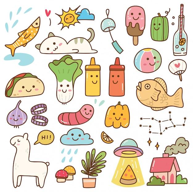 Conjunto de doodle kawaii Vetor Premium
