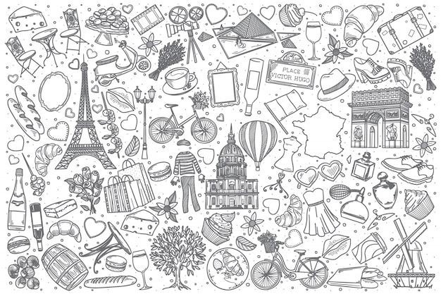 Conjunto de doodle mão desenhada frança Vetor Premium