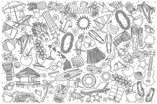Conjunto de doodle mão desenhada havaí Vetor Premium