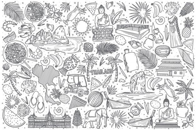 Conjunto de doodle mão desenhada tailândia Vetor Premium