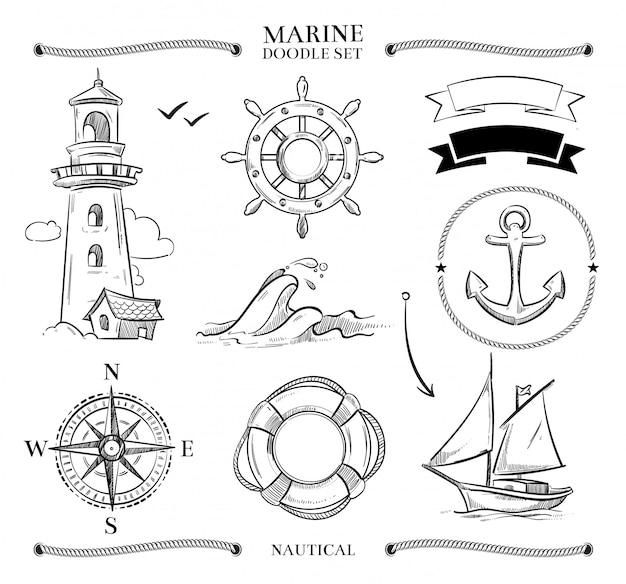 Conjunto de doodle marinho Vetor Premium