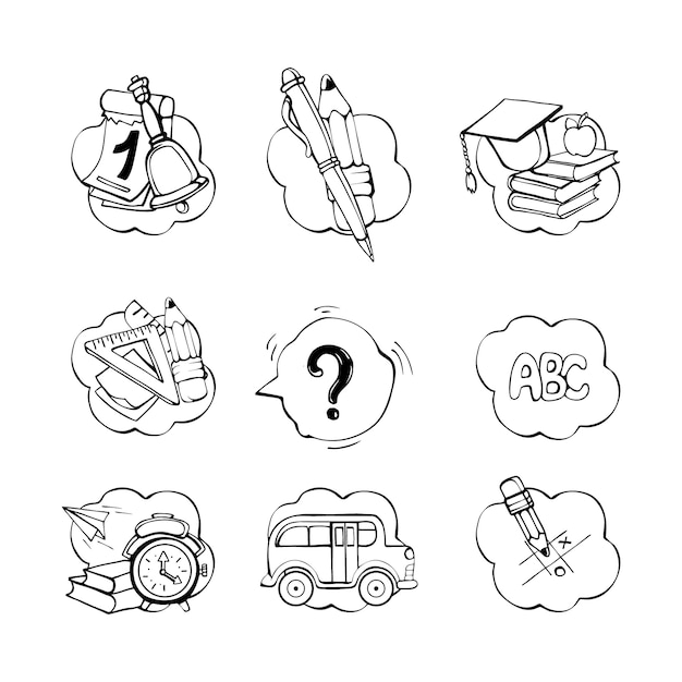 Conjunto de doodle material escolar Vetor Premium