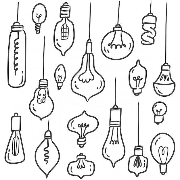 Conjunto de doodles de lâmpada isolado no branco Vetor Premium