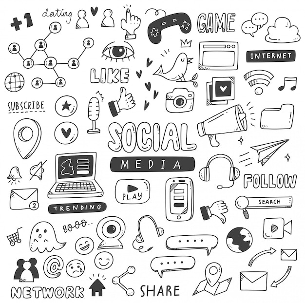 Conjunto de doodles de mídia social Vetor Premium