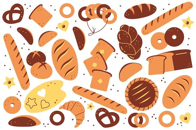 Conjunto de doolde de padaria. mão-extraídas pão pães pastelaria biscoitos torradas pães croissants donuts refeição alimentos não saudáveis de nutrição em fundo branco. ilustração de produtos agrícolas de trigo cozido. Vetor Premium
