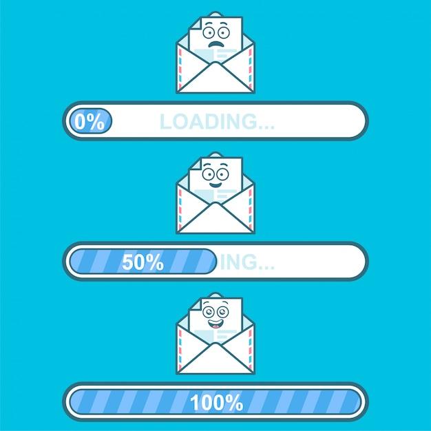 Conjunto de downloaders de vetor com caráter de desenho animado de e-mail e carregamento de texto. Vetor Premium