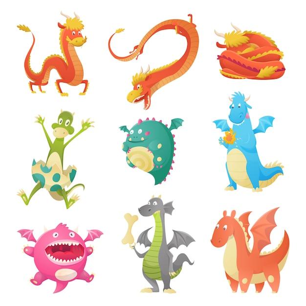 Conjunto de dragões bonitos dos desenhos animados Vetor Premium