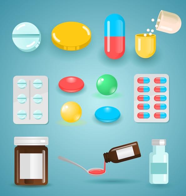 Conjunto de drogas Vetor Premium