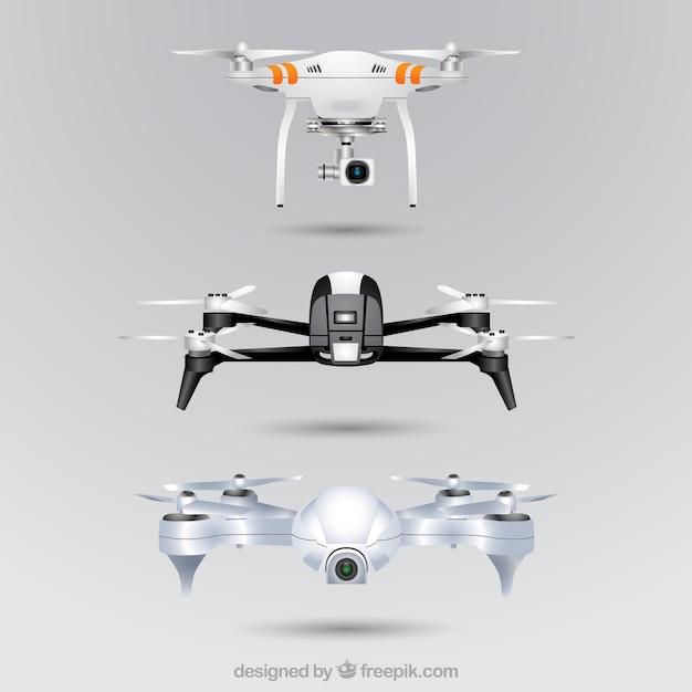 Conjunto de drones realista Vetor grátis
