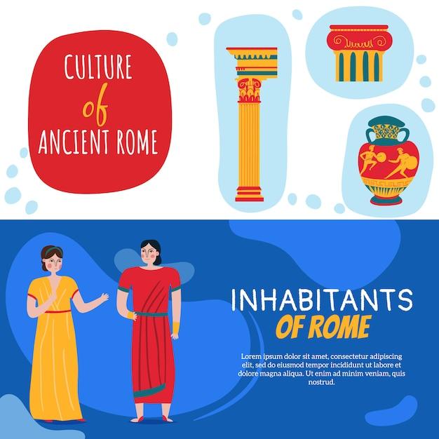 Conjunto de duas bandeiras do império de roma antiga Vetor grátis