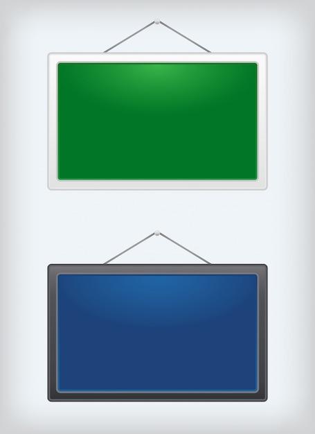 Conjunto de duas placas de sinal pendurado em um prego Vetor Premium
