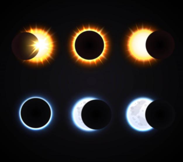 Conjunto de eclipse sol e lua Vetor Premium