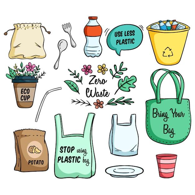 Conjunto de eco bag e ir ilustração conceito verde Vetor Premium