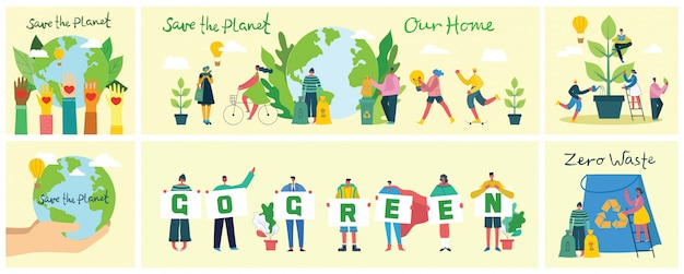 Conjunto de eco salvar fotos do ambiente. pessoas cuidando do planeta. zero desperdício, pense verde, salve o planeta, nosso texto manuscrito em casa. Vetor Premium