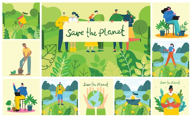 Conjunto de eco salvar imagens ambientais. pessoas cuidando da colagem do planeta. desperdício zero, pense verde, salve o planeta, design plano. Vetor Premium