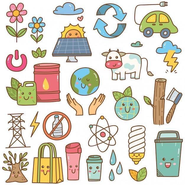 Conjunto de ecologia doodle em estilo kawaii Vetor Premium