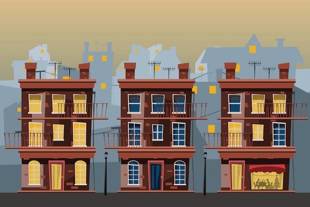 Conjunto de edifício em ilustração vetorial de cidade Vetor Premium