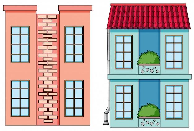 Conjunto de edifício plano Vetor grátis