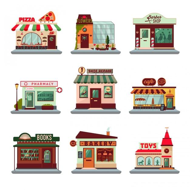 Conjunto de edifícios coloridos da cidade Vetor grátis