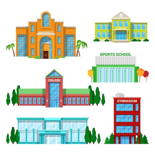 Conjunto de edifícios de escola e universidade de arquitetura. Vetor Premium