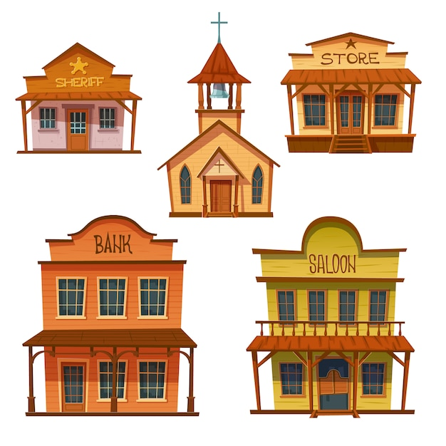 Conjunto de edifícios do oeste selvagem, design de estilo cowboy. Vetor grátis