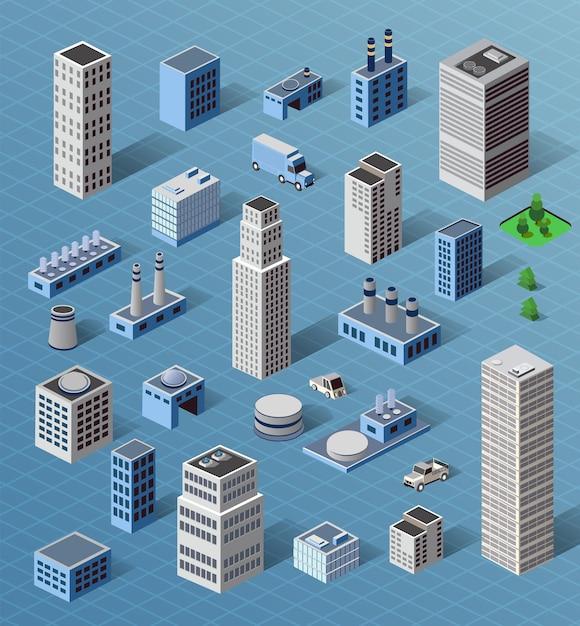 Conjunto de edifícios industriais industriais e residenciais urbanos, casas e edifícios Vetor Premium
