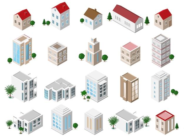 Conjunto de edifícios isométricos detalhados da cidade: casas particulares, arranha-céus, imóveis, edifícios públicos, hotéis. coleção de ícones de construção Vetor Premium