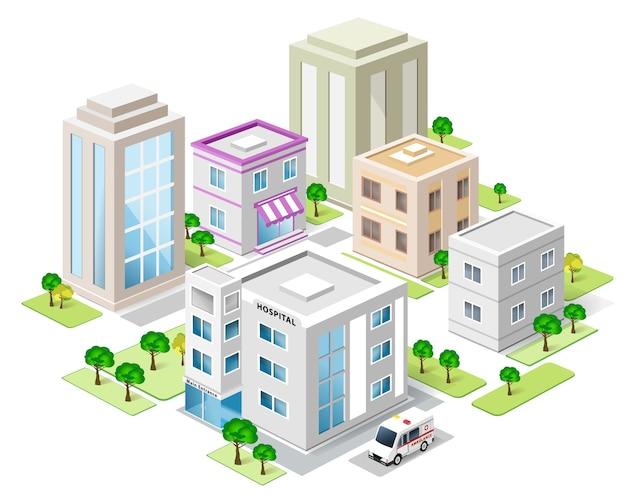 Conjunto de edifícios isométricos detalhados da cidade. cidade isométrica. ilustração. Vetor Premium