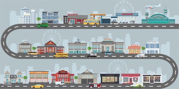 Conjunto de edifícios no estilo de design plano para pequenas empresas. Vetor Premium