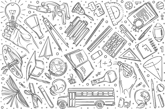 Conjunto de educação mão desenhada doodle fundo Vetor Premium