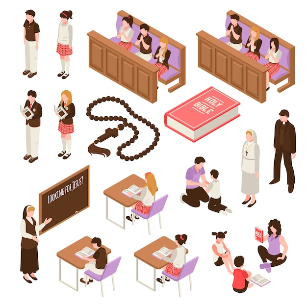 Conjunto de educação religiosa de ícones isométricos, aprendendo em crianças de escola dominical durante a ilustração isolada de oração Vetor grátis