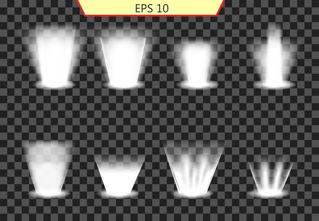 Conjunto de efeito de iluminação, coleção de iluminação Vetor Premium