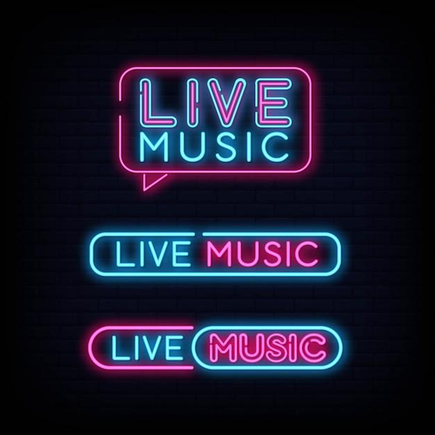 Conjunto de efeito de tabuleta de sinal de néon de música ao vivo Vetor Premium