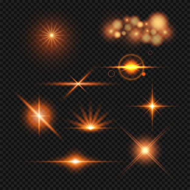 Conjunto de efeitos de iluminação. Vetor Premium
