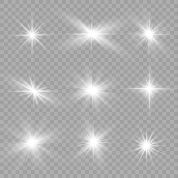 Conjunto de efeitos de luz branca transparente com brilho isolado Vetor Premium