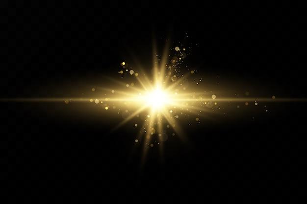 Conjunto de efeitos de luz dourada. flashes e brilhos. raios de luz brilhantes. linhas brilhantes. ilustração. flash de natal. poeira. Vetor Premium