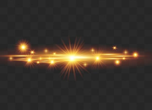 Conjunto de efeitos de luz, reflexo de lente, brilho, linha, flash do sol. Vetor Premium