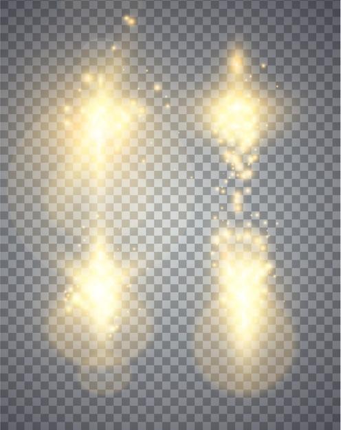 Conjunto de efeitos de luzes brilhantes douradas isolado em fundo transparente, magia abstrata ilustração Vetor Premium